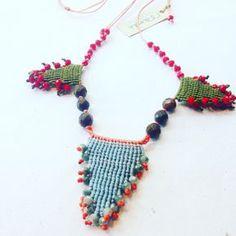 Macrame necklace, beaded macrame necklace, semi precious macrame necklace, colorful macrame necklace, crystal beads macrame necklace by MardijewelryStore on Etsy