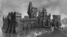 Fantasy Castle, Fantasy Rpg, Medieval Fantasy, Dark Fantasy Art, Fantasy World, Environment Concept Art, Environment Design, Buildings Artwork, Angel Vector
