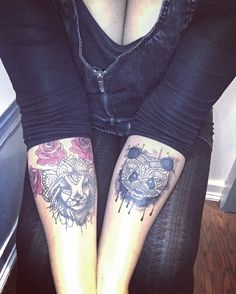 Roses mandala lion panda water colors black red forearm tattoo tattoos by Becki Wilson of Hades Inquisition in Crown Height Brooklyn