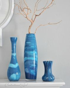 DIY blue paint swirl vases - looks fun and easy. Lots of great simple projects, recipes, and other ideas on this blog, Centsationalgirl.