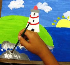 Lighthouse Mix Media based on Folk Artist from Canada, Maud Lewis