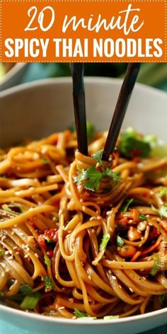 20 Minute Spicy Thai Noodles - The Chunky Chef Spicy Thai Noodles ., 20 Minute Spicy Thai Noodles - The Chunky Chef Spicy Thai Noodles by The Chunky Chef. Spicy Thai Noodles, Thai Pasta, Spicy Noodles Recipe, Thai Noodle Soups, Spicy Chicken Noodles, Spicy Peanut Noodles, Thai Noodle Salad, Thai Peanut Sauce, Shrimp Pasta