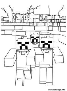 coloriage de minecraft zombie #ColoriageDe
