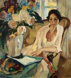 "Leo Putz (German, 1869-1940) - ""Damenbildnis"" (Portrait of a Lady), 1922 - Oil on canvas                                                                                                                                                                                 Mehr"