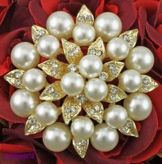 1 Wedding Bridal Clear Rhinestone Faux Pearl With Leaves Gold Tone Brooch Pin
