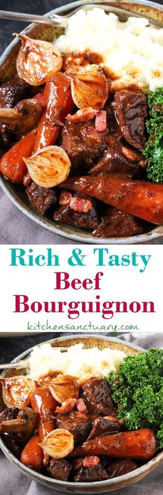 Comforting Beef Bourguignon in a delicious rich sauce Lamb Chop Recipes, Meat Recipes, Dinner Recipes, Cooking Recipes, Healthy Recipes, Paleo Meals, Oven Cooking, Healthy Tips, Slow Cook Beef Stew