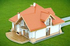 DOM.PL™ - Projekt domu DN Xara CE - DOM PC1-21 - gotowy koszt budowy Two Story House Design, Village House Design, Simple House Design, Bungalow House Design, House Front Design, Modern House Design, Small House Layout, House Layouts, Dream House Plans