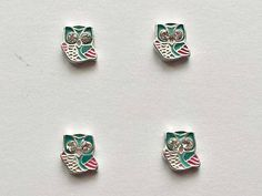 4 Owl Floating Charms  Glass Locket Charms  Floating Charms