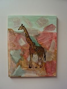 Pastel Giraffe Newsprint Collage - Nursery Wall Art - Whimsical Newspaper Safari Art - Quirky Home Decor - Baby Girl - Baby Boy. $64.00, via Etsy.