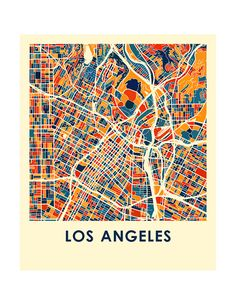 Los Angeles Map Print Full Color Map Poster by iLikeMaps on Etsy
