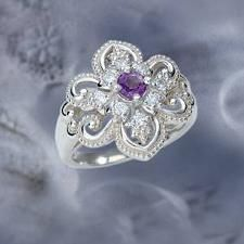 The Concorde Collection Queen Anne's Lace Ring - A fully-faceted Amethyst hand-set in a solid sterling silver ring accented with eight brilliant cubic zirconia. - Experience the Splendor of a Timeless Era