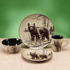 Bear Dinnerware 4 Pc Place Setting & Wolf Dinnerware 4 Piece Place Setting | Dinnerware Dining decor and ...