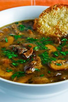 pot roast mushroom soup ~ use the leftovers from the pot roast recipe in Food for Thought board. Can make this keto friendly by leaving out the flour & using a bit of xanthan gum to thicken Crock Pot Recipes, Beef Recipes, Cooking Recipes, Beef Broth Soup Recipes, Mushroom Soup Recipes, Recipies, Healthy Mushroom Soup, Diabetic Recipes, Low Carb Soup Recipes