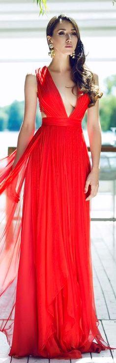 CRISTALLINI #EveningDress #Prom #Silk #Luxury #RedDress