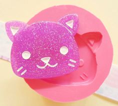 35mm Kawaii Kitty Cat (BIG SIZE) Face Flexible Silicone Mold - Decoden Kawaii Resin Fimo Polymer Clay Sculpey Wax Soap Fondant Cabochon