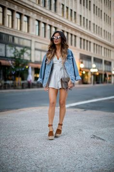 Fave: Striped Romper. - Mia Mia Mine. Nordstrom Romper, Topshop Denim Jacket, Marc Fisher Wedges, Gucci 'Dionysus' Bag
