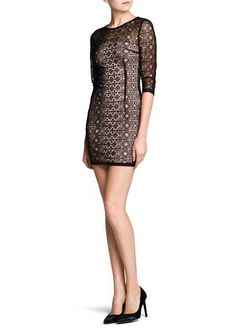 MANGO - NEW - Ethnic print mesh dress
