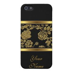 Elegant Classy Gold Black Floral 2 Cases For iPhone 5