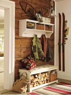 """Love the idea of combining a Hall Tree storage combination and wood storage. now where to find vintage skis and snowshoes? Maybe next to our """"fireplace"""" Ski Lodge Decor, Lodge Style, Cabin Interiors, Cozy Cabin, Home And Deco, Entryway Decor, Entryway Storage, Entryway Ideas, Diy Storage"""