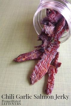 How to make Salmon Jerky - Use this tutorial to make a delicious Chili Garlic Salmon Jerky Recipe with a dehydrator.