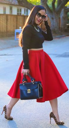 Red Full Midi Skirt by KTRstyle