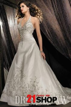 A-Line/Princess Halter Chapel Wedding Dresses