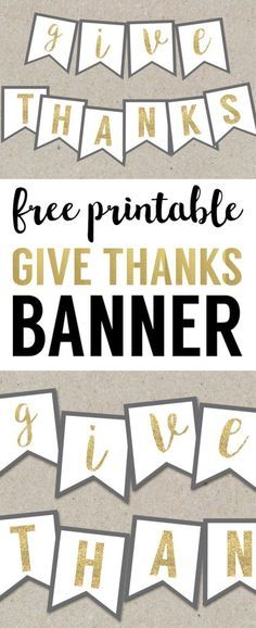 Give Thanks banner makes easy Thanksgiving decorations. Gold Thanksgiving banner for cute fancy decor. Thanksgiving Banner, Thanksgiving Crafts, Thanksgiving Decorations, Thanksgiving Graphics, Thanksgiving 2016, Diy Wall Shelves, Paper Trail, Fancy, Mason Jar Diy