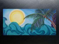 ORIGINAL ocean abstract acrylic ocean sun palm tree by GossArt, $99.00