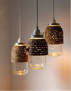 Twine wrapped mason jar lights.