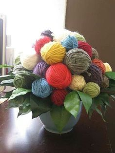 A Good Yarn Bouquet I thought I'd play around a bit with some yarn and a glue gun and see what I could do. This was made as a gift for the opening of A Good Yarn.Bouquet Bouquet, a word of French origin, pronounced [bu.kɛ], may refer to: Yarn Bombing, Knitting Humor, Crochet Humor, Knitting Yarn, Knitting Club, Knitting Needles, Knitting Patterns, Yarn Projects, Knitting Projects