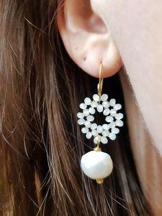 Orecchini - Orecchini Oro, Perle e Cristalli Bianchi - un prodotto unico di SusyDeMarchiJewelry su DaWanda