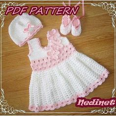 Crochet baby dress set pattern.