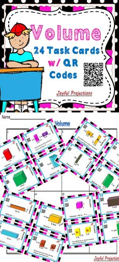 Use cards as task cards for early finishers, scoot them from one student to another, or use as a quiz. Students will multiply to find volume, add to find the sum of 2 volumes, subtract to find the difference between 2 volumes, and divide to find missing sides in a given shape. Students can check their own answers using the QR codes!  What a great way to review Volume of a prism!