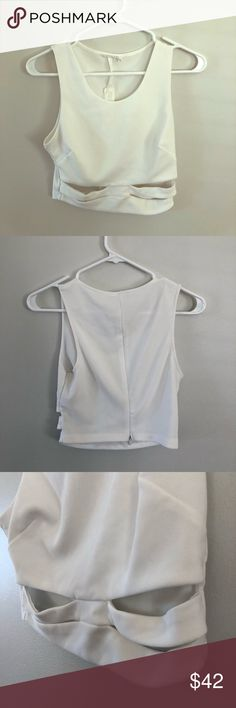 White Lush Brand Cut-Out Crop Top This sleeveless Lush crop top is To. Die. For!!! I wore it once in Las Vegas, and it was an absolute head-turner! The cut outs are around the midriff area, and shows off the abs you worked so hard to chisel. Refer to the photos I've posted and see for yourself just how cute this top is! Sad to see this go, but my loss is your gain! Ask any questions you have about this item as everything I sell is final sale! Feel free to make me a respectable offer! :) Lush…