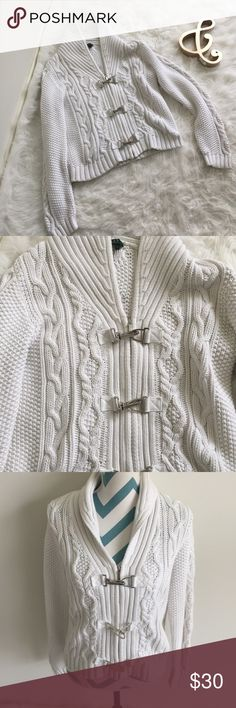 Ralph Lauren Sweater Gorgeous white zippered sweater with silver latch details. Super warm and cozy knit. Made with 100% cotton. No flaws to note. Ralph Lauren Sweaters