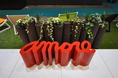 Amore bench Slide Design, Planter Pots, Bench, Patio, Garden, Collection, Contemporary, Outer Space, Garten