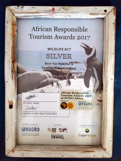 We are honoured to have won a silver African Responsible Tourism Award in the category Best for Habitat and Species Conservation 2017! A big thank you to the organisers of the #ARTA17 and to Cape Nature for sponsoring this award. We will continue to keep up the hard work to save our endangered species