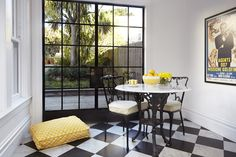 the bright yellow in 'these days' will add a pop of color to any room.
