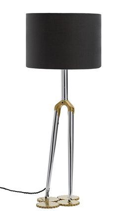 Bicycle Fork Lamp in Gold and Chrome