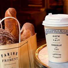 Our #Baguette #Breads #Coffee & #Tea Cup & Takeout Bag are #Picnic Ready! #balthazarny #balthazarbakeryny