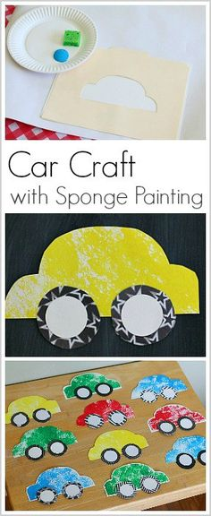 Paper Car Craft for Kids Using Sponge Painting Make a paper car craft with kids using this FREE car template and sponge painting! Such a fun art activity for car-loving kids! (Perfect for toddlers, preschool, and kindergarten). Cars Preschool, Transportation Theme Preschool, Preschool Crafts, Transportation Activities For Preschoolers, Toddler Art, Toddler Crafts, Art Activities, Toddler Activities, Projects For Kids