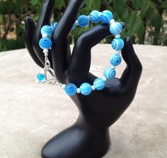 Blue Swirl Glass Beaded Bracelet with Toggle by MonicaWilgaDesigns