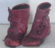 EARLY PA CHILD'S RED BUTTON SHOES.