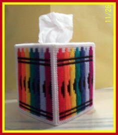 Crayola Crayon Blue Orange Yellow Red Handmade Plastic Canvas Tissue Box Cover