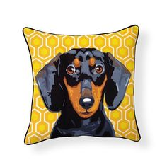 Add some flair to your interior (or exterior) design with this unique Dachshund Portrait Pillow. Find this and more at The Cheeky Puppy Pet Boutique. Brown Dachshund, Dachshund Gifts, Dachshund Love, Funny Dachshund, Crusoe The Celebrity Dachshund, Weenie Dogs, Doggies, Outdoor Throw Pillows, Dog Breeds