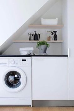 24 Laundry Room Ideas, Worry-freeing Your Irking Chore - Small laundry room design is about creating functional small spaces where chores do not get procras - Laundry Nook, Small Laundry Rooms, Laundry Closet, Laundry Room Organization, Laundry In Bathroom, Small Rooms, Small Spaces, Laundry Organizer, Laundry Decor