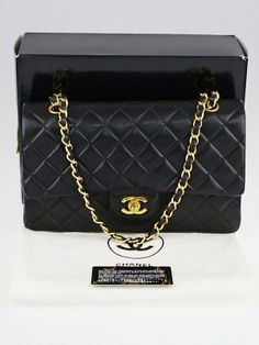 Go in style with this gorgeous Chanel Black Quilted Lambskin Leather Medium Classic Double Flap Bag. The black quilted lambskin leather is so soft and supple and features a goldtone turnlock CC closure and double flap interior. The versatile leather strap chain can be worn on the shoulder lengthened to wear with a longer drop. An elegant and timeless piece to add to any collection. Current retail price is $4900.