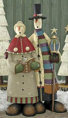 primitive snowmen decor