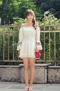 Japanese fashion craft embroidery fringed dress