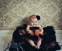 Boutique Halloween Orange and Black Tutu with matching Satin Flower Puff Headband Halloween Photography Prop Newborn-3T. $25.00, via Etsy.